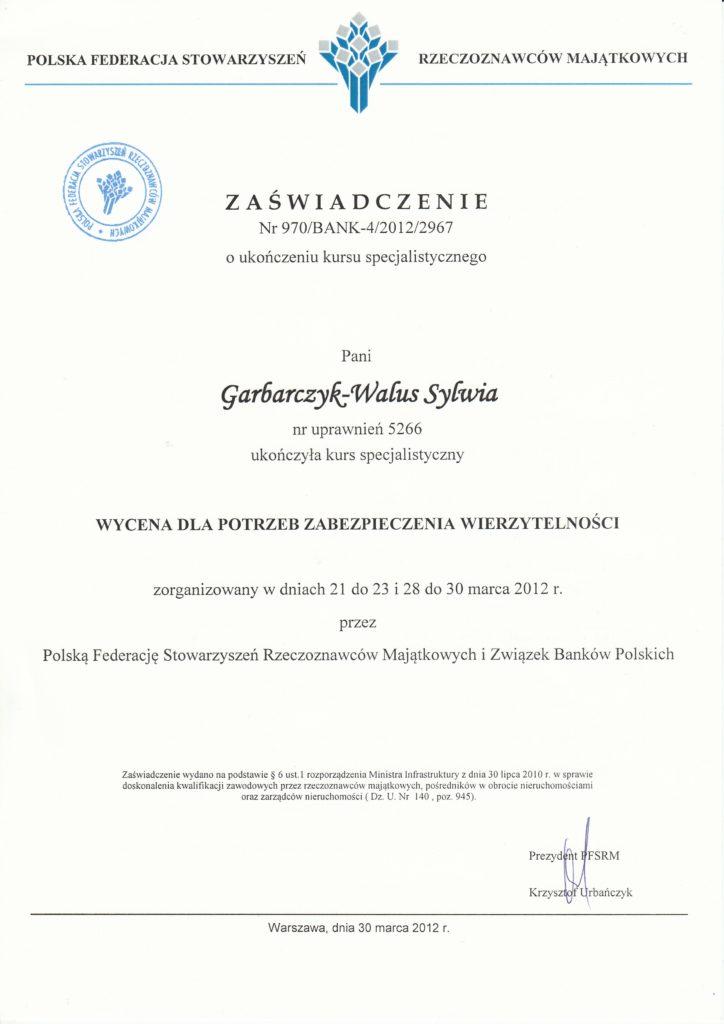 Zaświadczenie o ukończeniu kursu specjalistycznego - Wycena dla potrzeb zabezpieczenia wierzytelności