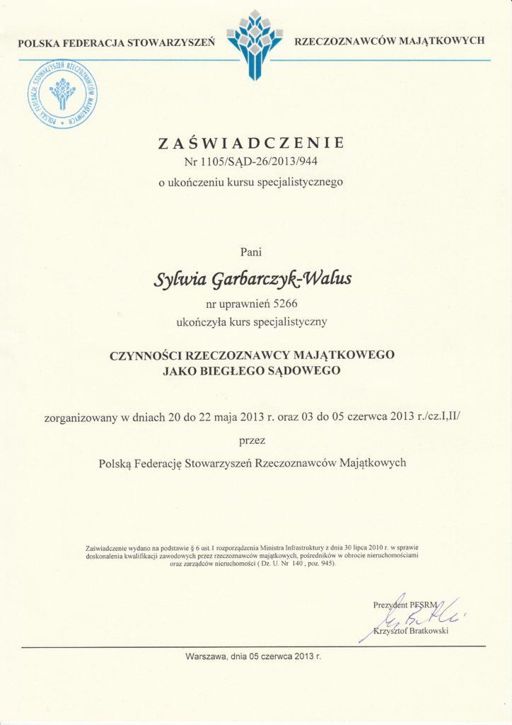 Zaświadczenie o ukończeniu kursu specjalistycznego - Czynności rzeczoznawcy majątkowego jako biegłego sądowego
